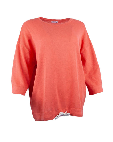 Cadenza Italy Eco Collection Cotton Drawstring Jumper - Coral