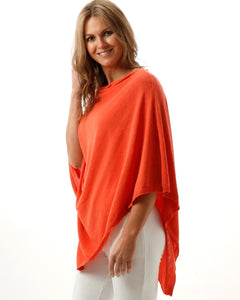 Cadenza Italy Eco Collection Cotton Poncho - Coral