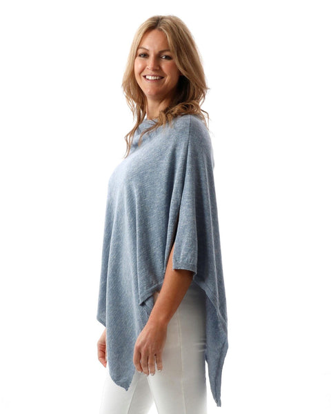 Cadenza Italy Eco Collection Cotton Poncho - Denim Marl