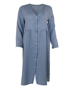 Cadenza Italy Long Sleeve Linen Dress - Sky Blue