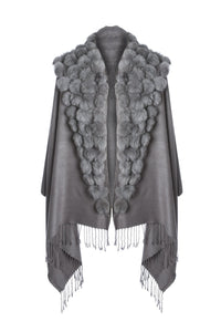 Wool Wrap with Fur Pom Poms Grey by Jayley