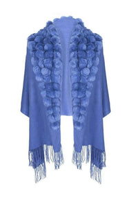 Wool Wrap with Fur Pom Poms Blue by Jayley