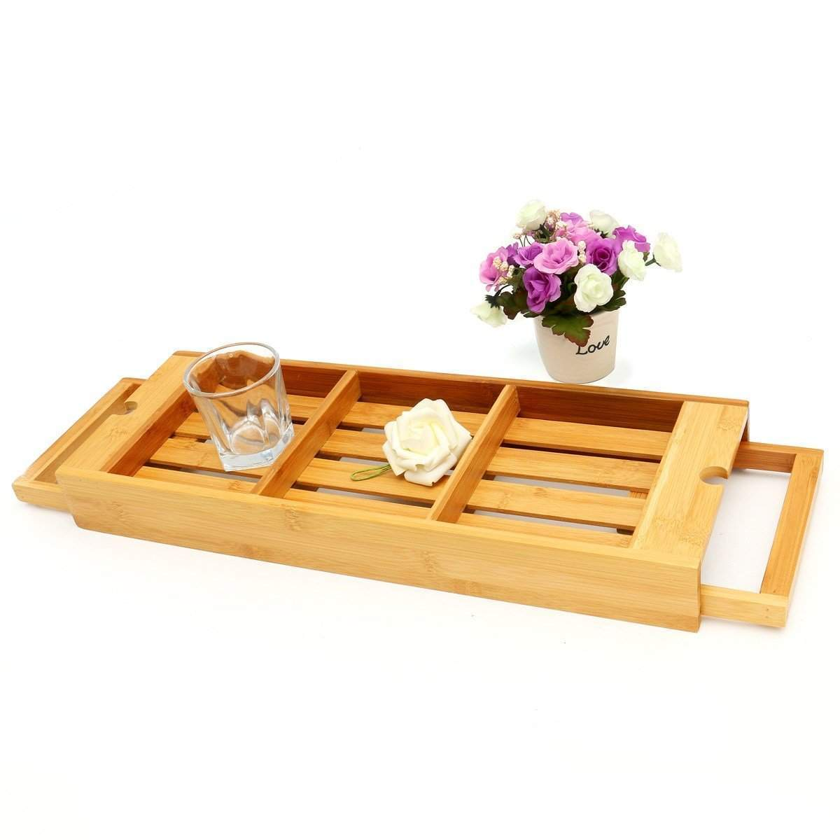 Bamboo Bathtub Storage Extendable Rack with 3 Compartments Bath Tray ...