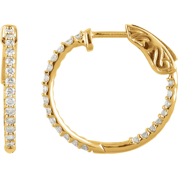 14K 1 CTW Diamond Inside/Outside Hoop Earrings