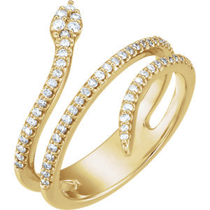 14K 1/3 CTW Diamond Snake Ring