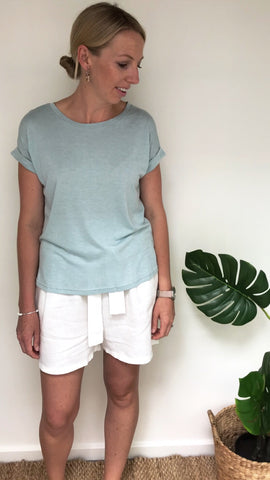 ROLL SLEEVE TEE | MINT