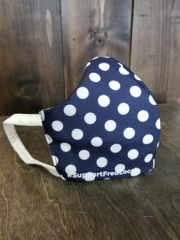 Polka Dots Navy PPE Civilian Mask #SupportFredLocal