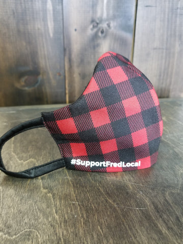 Red Plaid PPE Civilian Mask #SupportFredLocal