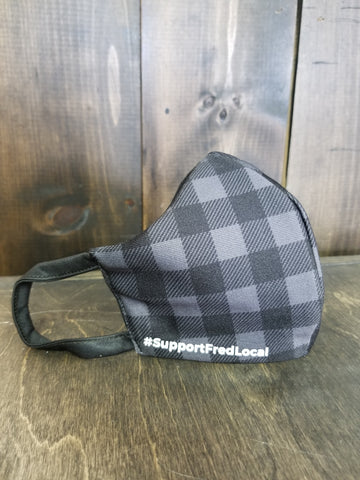 Grey Plaid PPE Civilian Mask #SupportFredLocal