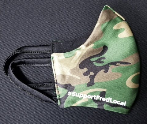 Forest Camo PPE Civilian Mask #SupportFredLocal Youth/Adult Small