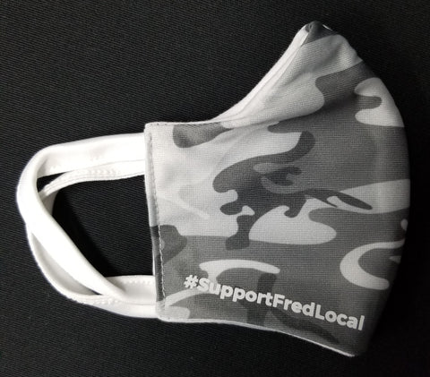 Grey Camo PPE Civilian Mask #SupportFredLocal Youth/Adult Small