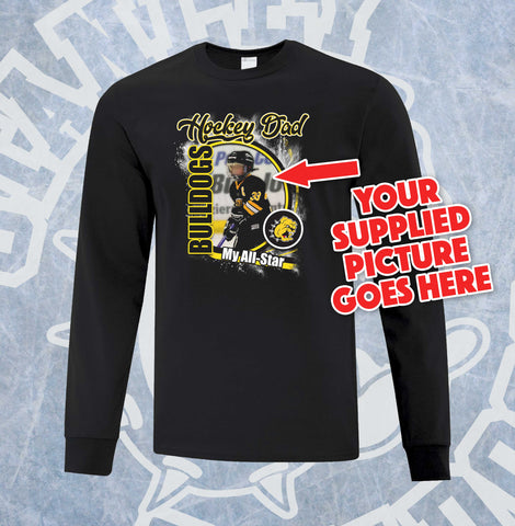 Custom Bulldogs Hockey Mom, Dad and Grandparent Adult Long Sleeve