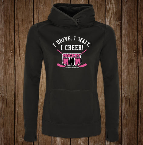 Hockey Mom Game Day Black Hoodie - I Drive, I Wait, I Cheer