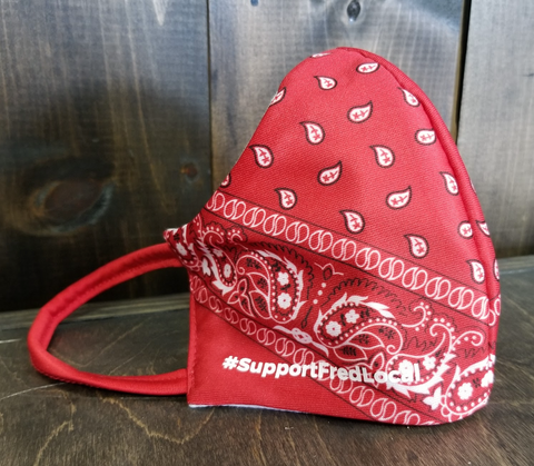 Red Paisley PPE Civilian Mask #SupportFredLocal