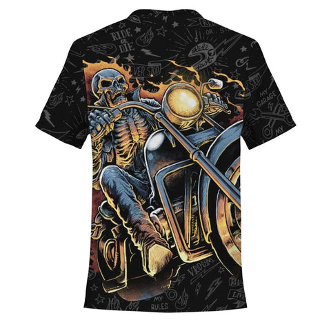 Burning Skull Motorcycle T-Shirt - MK Online Store 101