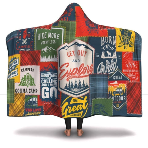 Camping Patchwork Hooded Blanket -1 - MK Online Store 101