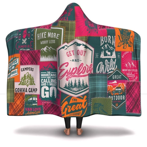 Camping Patchwork Hooded Blanket -2 - MK Online Store 101