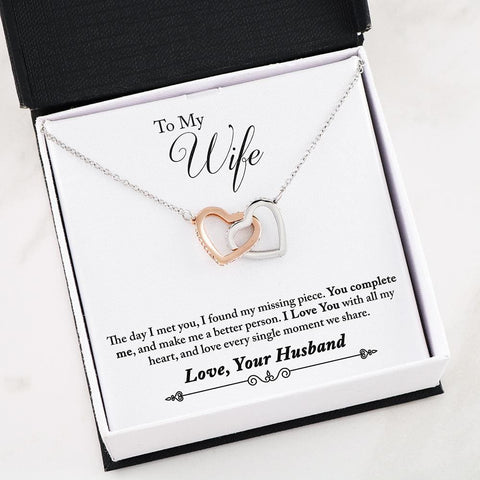 Husband To Wife Cubic Zirconia Luxury Interlocking Heart Necklace ( Complete ) 2 - MK Online Store 101