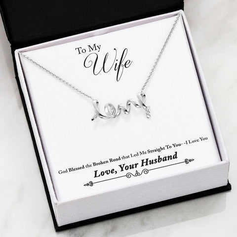 Husband To Wife Cubic Zirconia Luxury Scripted Love Necklace ( Broken Road ) - MK Online Store 101