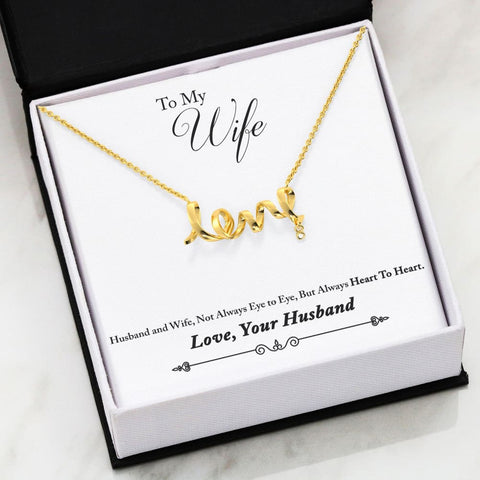 Husband To Wife Cubic Zirconia Luxury Scripted Love Necklace ( Heart ) - MK Online Store 101