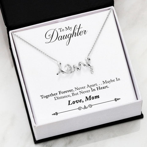 Mom To Daughter Cubic Zirconia Luxury Scripted Love Necklace ( Forever ) - MK Online Store 101
