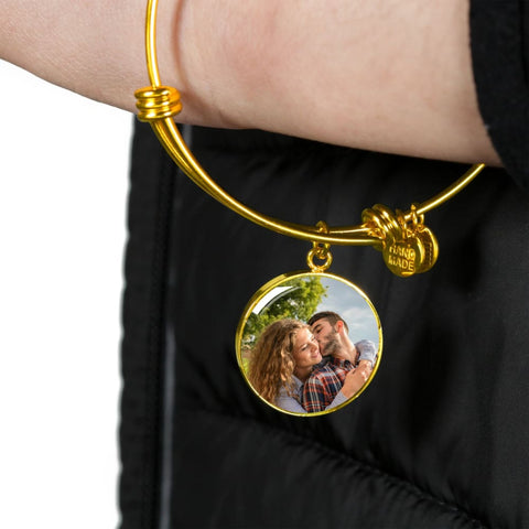 Personalize Circle Adjustable Bangle With Message Card ( I choose you for life ) Gift For Wife - MK Online Store 101