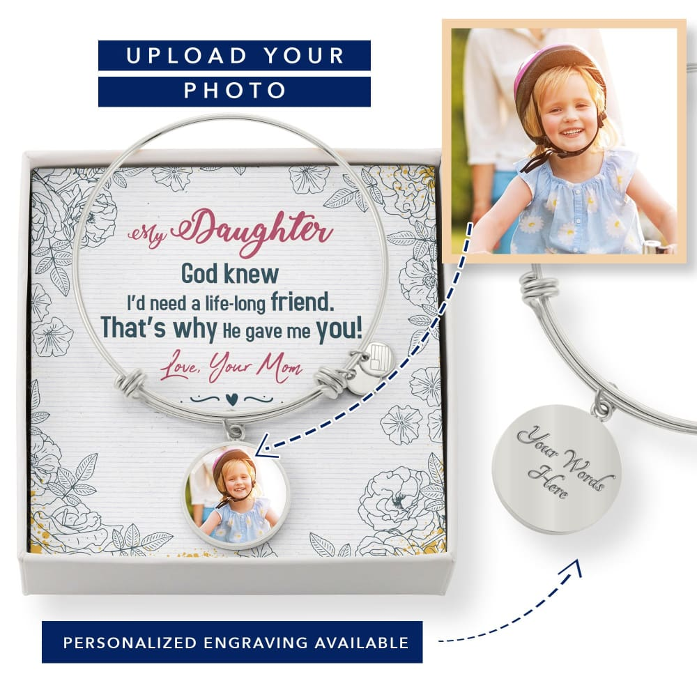 Personalize Circle Adjustable Bangle With Message Card ( Life Long Friend ) Gift For Daughter