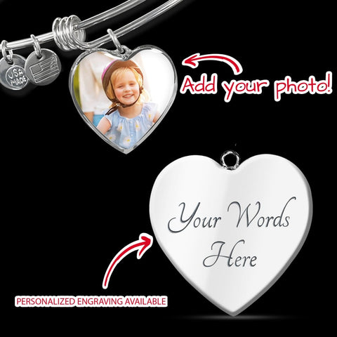 Personalize Heart Adjustable Bangle With Message Card ( I choose you for life ) Gift For Wife - MK Online Store 101
