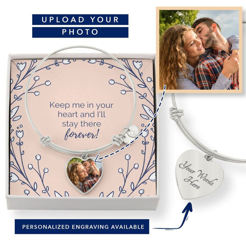 Personalize Heart Adjustable Bangle With Message Card ( Keep Me In Heart ) Gift For Wife - MK Online Store 101
