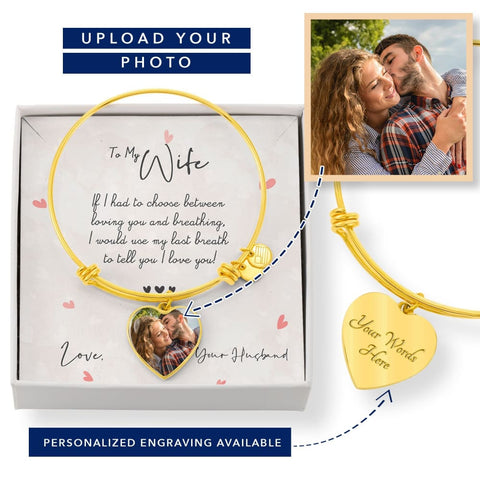 Personalize Heart Adjustable Bangle With Message Card ( Last breath ) Gift For Wife - MK Online Store 101