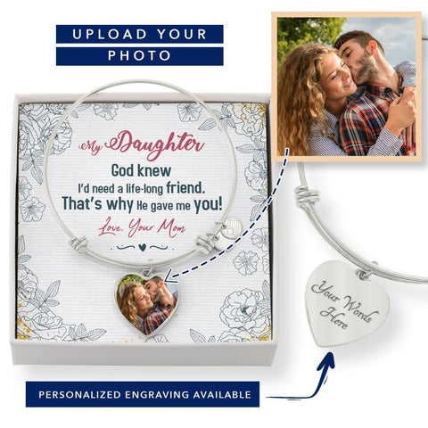 Personalize Heart Adjustable Bangle With Message Card ( Life Long Friend ) Gift For Daughter - MK Online Store 101