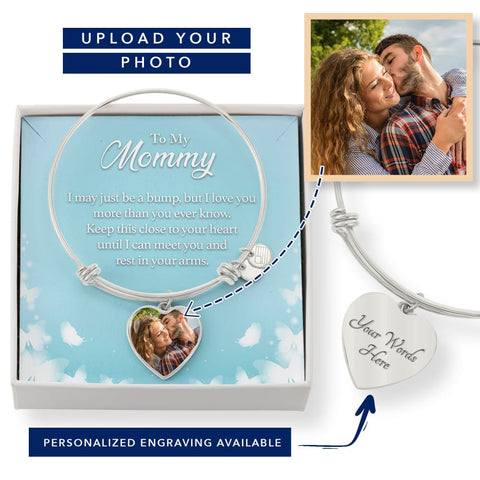 Personalize Heart Adjustable Bangle With Message Card ( Rest In Your Arms ) Gift For MOM - MK Online Store 101