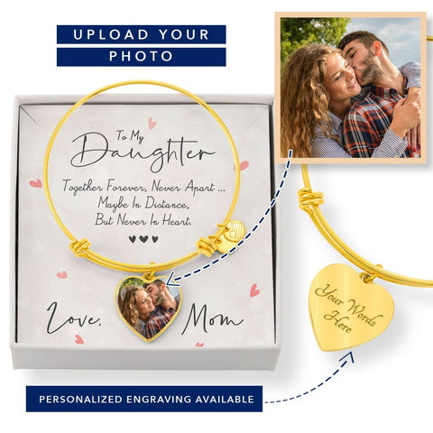 Personalize Heart Adjustable Bangle With Message Card ( Together Forever ) Gift For Daughter - MK Online Store 101