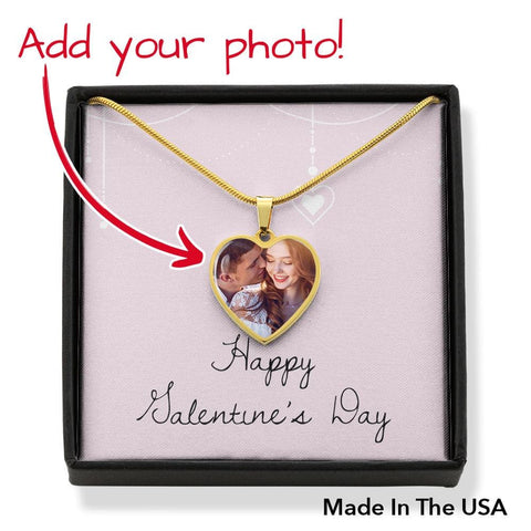 Personalize Heart Pendant With Message Card ( Valentines Galentines Pink Draping ) Gift For Wife - MK Online Store 101