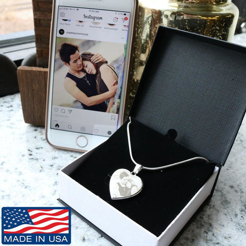Personalize Photo Etched Heart Silver Adjustable Luxury Necklace - MK Online Store 101