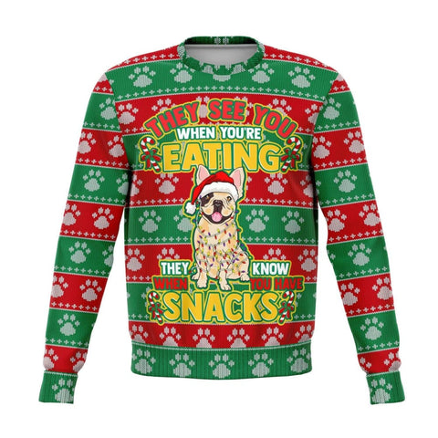 Snacks French Bulldog Ugly Xmas Sweatshirt - MK Online Store 101