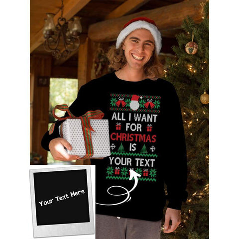 Ugly Xmas Unisex Sweatshirt With Custom Text 001 - MK Online Store 101