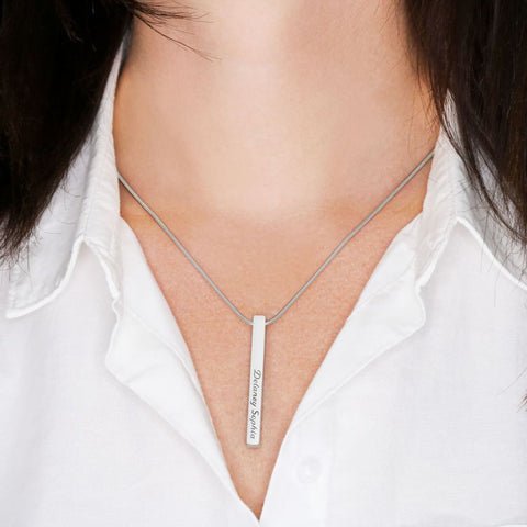 Vertical Stick Bar Necklace Custom Engrave 2 Side - MK Online Store 101