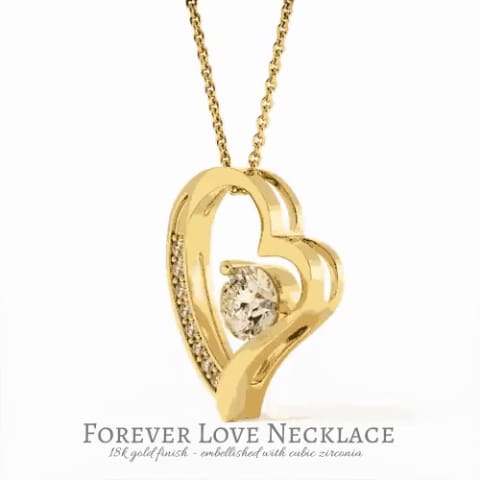 Mom To Daughter Interlocking Cubic Zirconia Luxury Heart Necklace ( Brave )