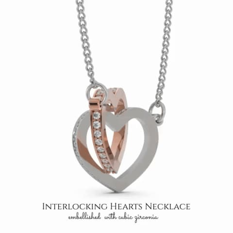 Husband To Wife Interlocking Cubic Zirconia Luxury Heart Necklace ( Complete )