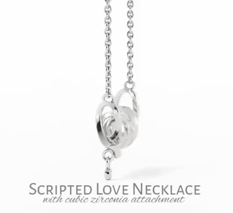 Husband To Wife Cubic Zirconia Luxury Scripted Love Necklace ( Broken Road )