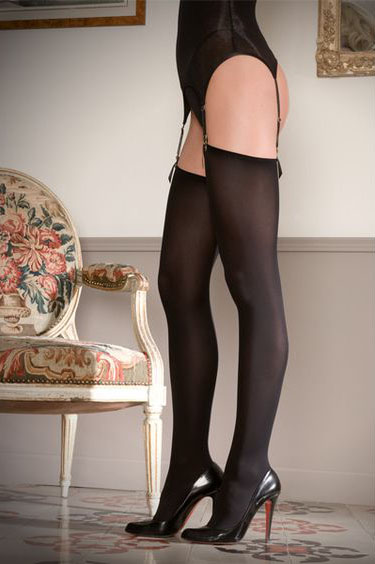 Maison Close Cut and Curled Thigh Highs, 70 Denier