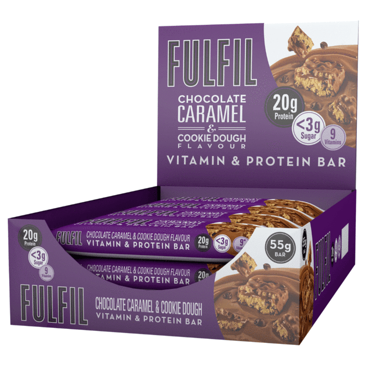 FULFIL CHOCOLATE CARAMEL & COOKIE DOUGH BOX OF 15 BARS