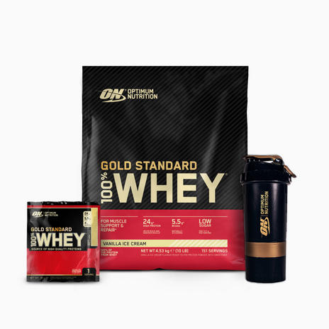 Optimum Nutrition GOLD STANDARD 100% WHEY (4540 G) + SHAKER + SACHET
