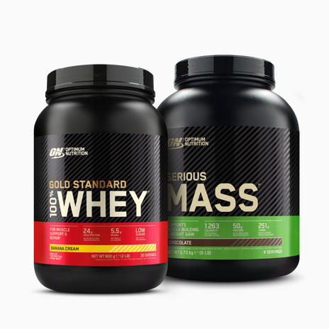 ON GOLD STANDARD WHEY + SERIOUS MASS BUNDLE