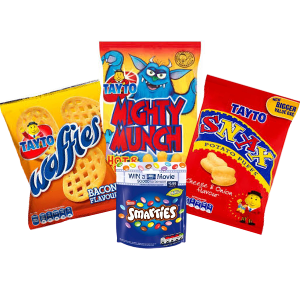 Party Box Of Tayto Waffles, Snax, Mighty Munch & Smarties | Box Of 24