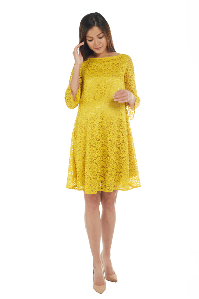 Mustard Yellow Premium Lace Dress