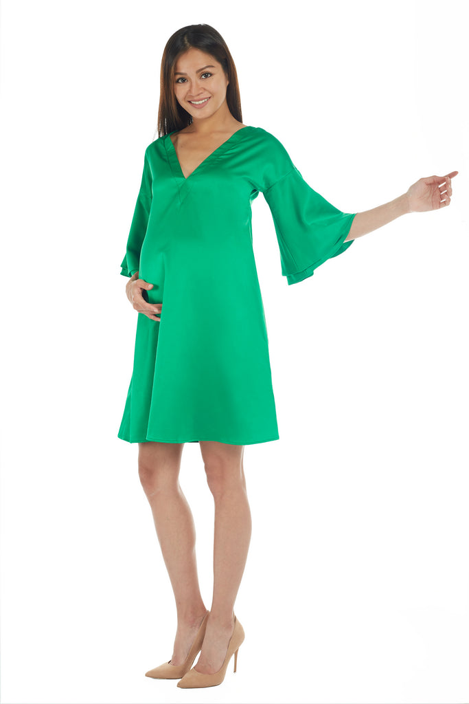 Emerald Green V-Neck with Flounce Sleeve
