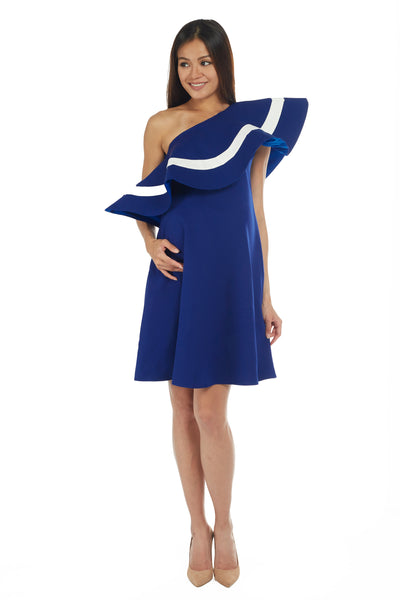 One-Shoulder Flare Ruffle in Royal Blue