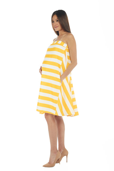Bumblebee Yellow & White Stripes Tube Dress